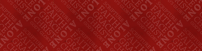 red pattern that says 'scripture alone, faith alone, grace alone, christ alone, God's glory alone